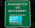 Prohibited on Motorway sign in New Zealand MF2012.jpg