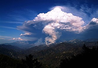 Flammagenitus (cloud) - Looking east towards pyrocumulus cloud in Azusa Canyon from Mount Wilson Red Box Road, California