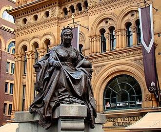 Cultural depictions of Queen Victoria - Statue of Queen Victoria in front of the Queen Victoria Building in Sydney, Australia