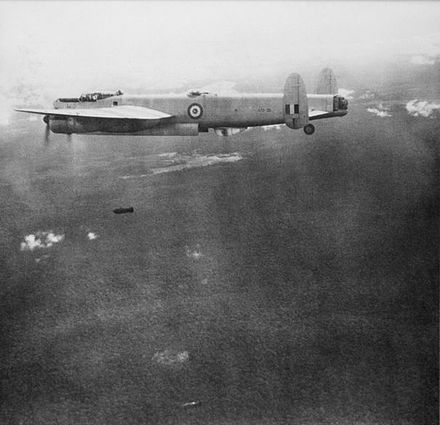 A Lincoln from No. 1 Squadron RAAF bombing communist targets during the Malayan Emergency, c. 1950. RAAFAvroLincolnMalaya1950.jpg