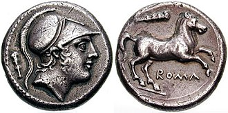 Socii - Roman silver didrachm c. 225 BC. (Obverse) head of Mars, the Roman god of war. (Reverse) horse rearing and legend ROMA. Note club on both sides, likely a reference to Hercules. Until the launch of the denarius c. 211 BC, during the Second Punic War, the Romans used Greek-style drachmae for their silver currency. They were generally minted for Rome in the Greek cities of S. Italy (esp. Neapolis)