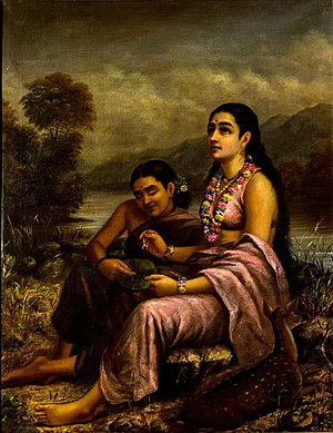 Sakunthala writing letter to Dushyantan after ...