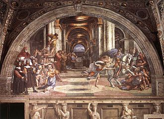 Grand manner - Raphael, The Expulsion of Heliodorus from the Temple, from the Vatican, 1512. The original Grand Manner