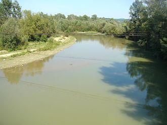 Gorj County - Gilort river in Târgu Cărbunești
