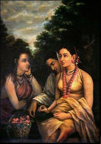 Shakuntala - Shakuntala despondent, painting by Raja Ravi Varma.