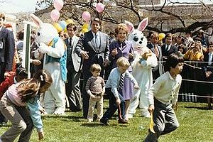 Egg rolling - The Reagans at the 1982 White House Easter egg roll