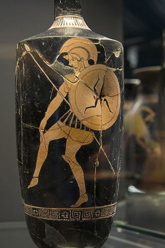 Trinacria - Three-legged symbol of Sicily depicted as a proto-heraldic device on the shield of a Greek warrior. Greek Red Figure lekythos vase, c.470 BC, found in a tomb near Licata, Sicily. Archaeological Museum of Syracuse, Sicily
