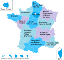 color map of the regions of France