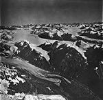 Rendu Glacier, tidewater glacier terminus, icefield, and hanging glacier, September 12, 1973 (GLACIERS 5828).jpg