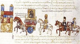 Boris II of Bulgaria - The Byzantine emperor John Tzimisces returns in triumph in Constantinople with the captured Boris II and Preslav Icon