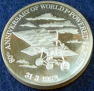 "Richard Pearse - A silver medal struck by the New Zealand Mint for the New Zealand Museum of Transport and Technology in 1982 to commemorate the ""80th Anniversary of World 1st Powered Flight"" by Pearse. MOTAT's website gives 1903 as the year of his first flight, not 1902 as indicated on the medal."