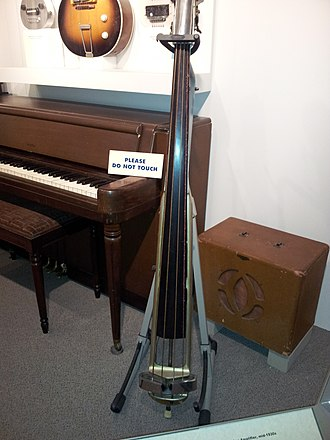 Bass amplifier - A 1930s era combo amplifier and a Rickenbacker electric upright bass from 1935.