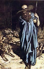 Illustration by Arthur Rackham:  Wotan visiting Mime