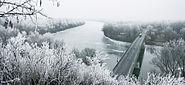River Tisza in winter with Tokaj bridge - Hungary