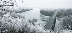 River Tisza in winter with Tokaj bridge - Hungary.jpg