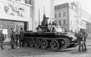 Romanian Revolution - T-55 tank in front of Opera House