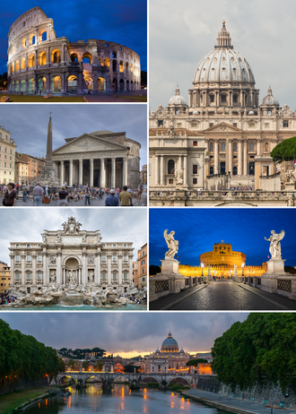 Rome - Clockwise from top: the Colosseum, St. Peter's Basilica, Castel Sant'Angelo, Ponte Sant'Angelo, Trevi Fountain and the Pantheon