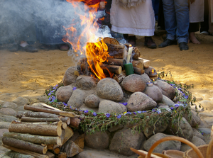 "Nature religion - An aukuras, a type of fire altar found in Romuva, a modern Pagan faith characterised as a ""nature religion""."