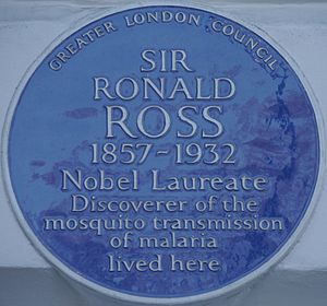 Ronald Ross - Blue plaque, 18 Cavendish Square, London