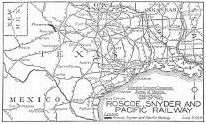 Roscoe, Snyder and Pacific Railway - Image: Roscoe Snyder Pacific Railway Map 1916