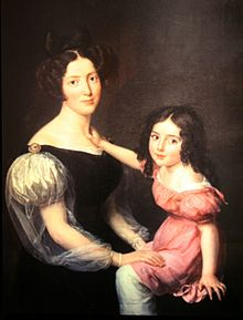 Painting of a woman with a girl on her lap, both wear robes.