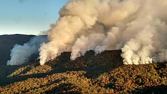 Cohutta Wilderness - The Rough Ridge Fire burning the Cohutta Wilderness