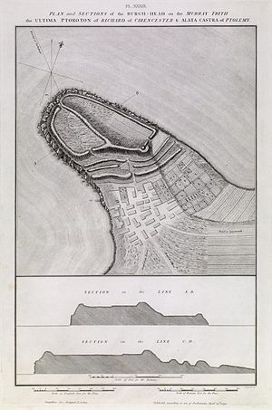 Burghead Fort - Plan of the remains of the fort drawn by General William Roy in 1793