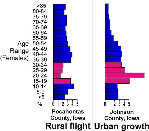 Population age comparises between rural Pocahontas County, Iowa and urban Johnson County, Iowa, illustrating the flight of young adults (red) to urban centres in Iowa. Rural flight.jpg