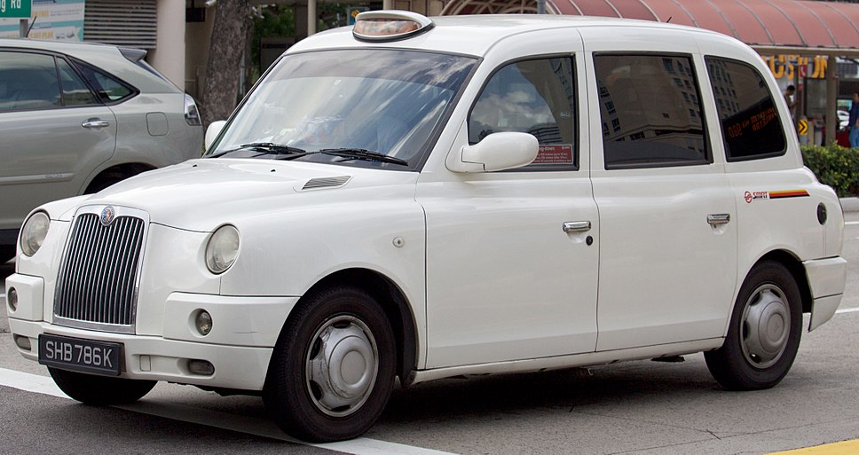 SHB786K - London Cab TX4 in Singapore, SMRT owned front view