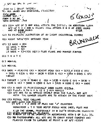 Bombing of Braunschweig (October 1944) - First page of th mission orders for No. 5 Group RAF.