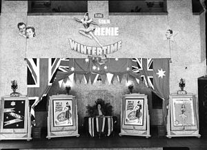 Wintertime - Advertising display for Wintertime at an Australian conference of theatre managers in 1944