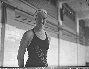 Mona Leydon - Image: SLNSW 14297 Miss Leydon New Zealand swimmer