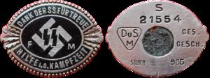 """Förderndes Mitglied der SS - Button """"Fördernden Mitglieds der SS"""" in Silver (Silberne Ehrennadel)"""