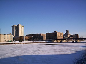Saginaw, Michigan - The Saginaw River freezes in the cold Michigan winter of February 2008.