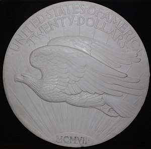 Saint-Gaudens double eagle - Early model for the reverse of the double eagle, displaying the date in Roman numerals