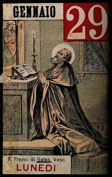 File:Saint Francis of Sales kneeling behind an altar, praying. Wellcome V0032004.jpg