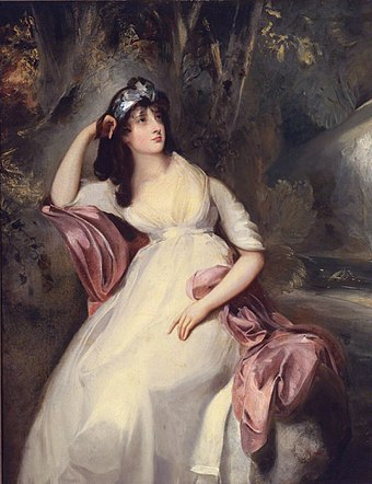 Lawrence was in love with Sarah Siddons's daughter Sally. Painting by Thomas Lawrence, eighteenth century. Sally Siddons by Thomas Lawrence.jpg
