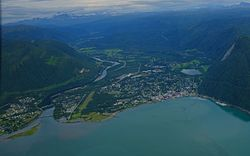 View of Saltdal where the valley meets the fjord