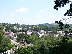 Picture of Saltsburg taken from the overlook located on the East side of The Kiski School