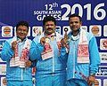 Samaresh Jung (INDIA) won Gold Medal, Pemba Tamang (INDIA) won Silver Medal and Vijay Kumar (INDIA) won Bronze Medal in the 25m Center Fire Pistol Men's Individual, at the 12th South Asian Games-2016, in Guwahati.jpg