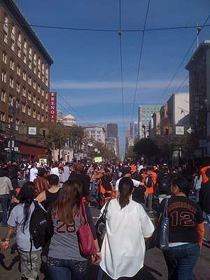 Market Street (San Francisco) - Market Street after the San Francisco Giants World Series win