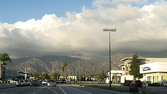 Sierra Madre Boulevard - Sierra Madre Boulevard in Lamanda Park, Pasadena and San Gabriel Mountains in eastern Pasadena