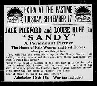 Sandy (1918 film) - Contemporary newspaper advertisement