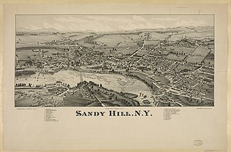 Hudson Falls, New York - Lithograph of Sandy Hill from 1884 by L.R. Burleigh with list of landmarks