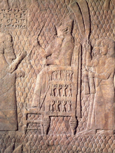 Sennacherib enthroned in Lachish, from one of his reliefs