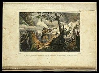Sauvages civilisés, soldats indiens de Mugi das Cruzas (province de St. Paul) Combattant des Botocoudos