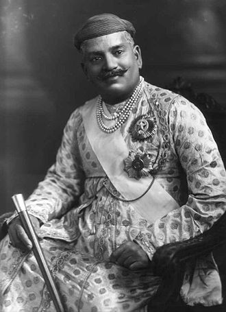 Order of the Star of India - Sayajirao Gaekwad III, Maharaja of Baroda, wearing the sash and star of a GCSI, as well as the star of a GCIE. 1919