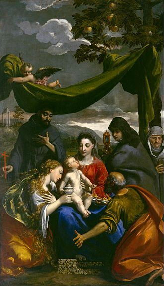 Scarsellino - Virgin and Child with Saints Mary Magdalene, Peter, Clare, Francis, and an Abbess