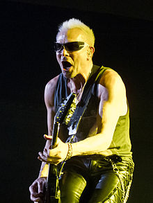 Rudolf Schenker performing with the Scorpions in Madrid, Spain in March 2014.