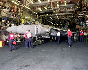 Sea Harrier 801 NAS in hangar HMS Illustrious (R06) 1998.JPEG